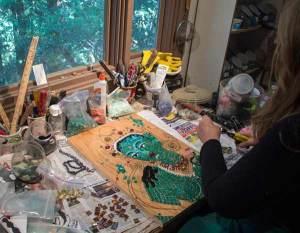 Jane working on Green Tara mosaic