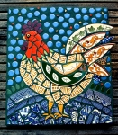Mosaic Rooster made with pottery shards by Jane Kelly